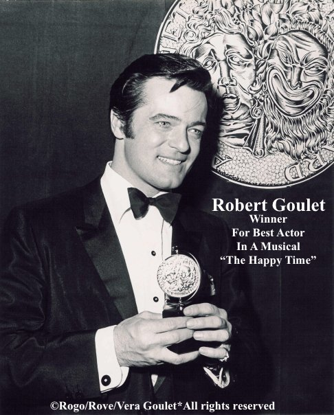 "Robert Goulet accepting his Tony Award for Best Actor in the 1968 Broadway Musical ""The happy Time"