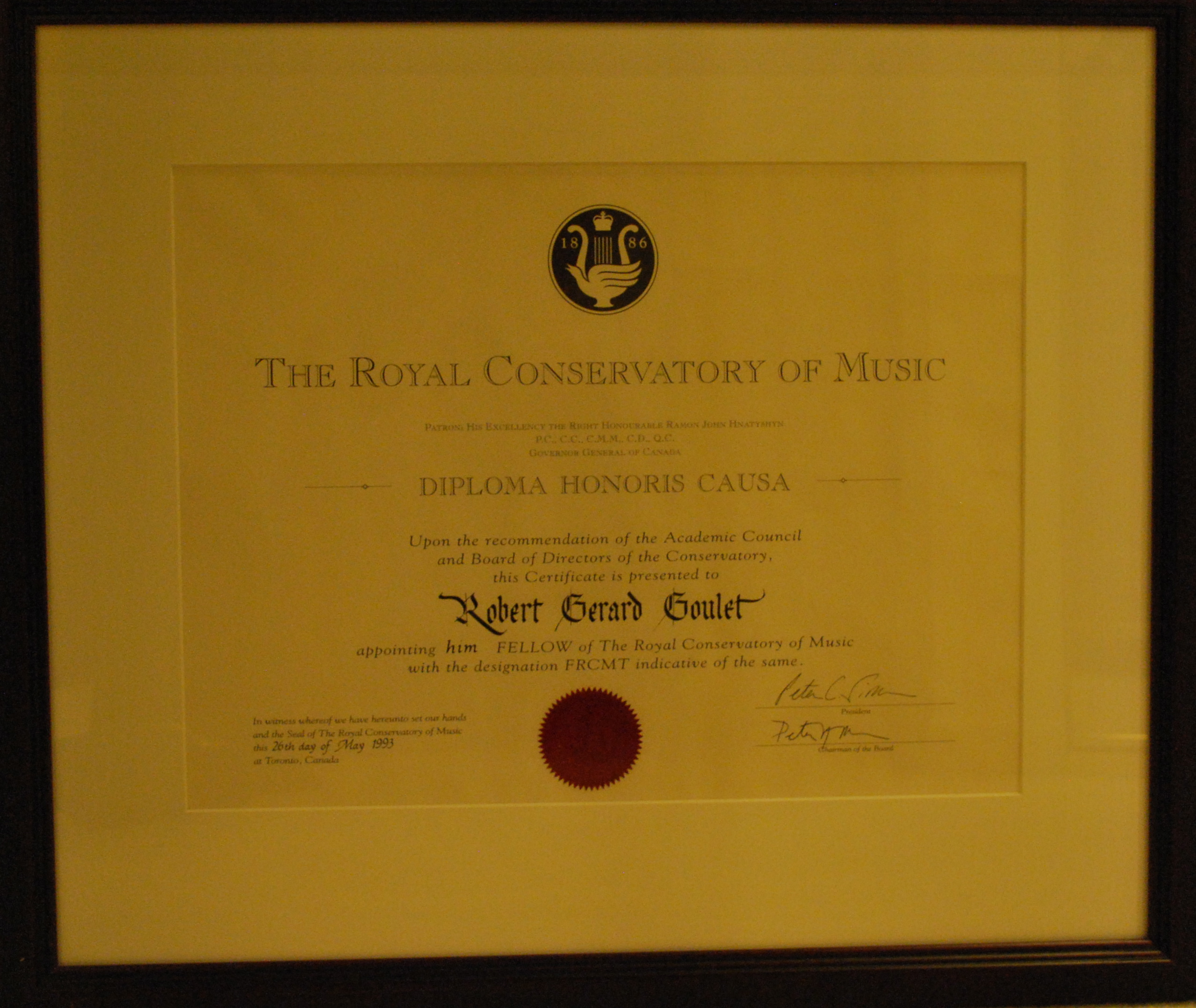 Royal Conservatory Of Music, Toronto, Ontario, CA  Fellowship (1993)